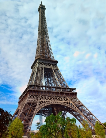 Eiffel Tower against the blue sky and clouds. Paris. France. photo