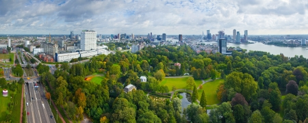 euromast: View of Rotterdam city and park from Euromast tower - Netherlands
