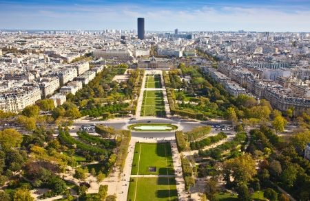 Top view from Eiffel tower on famous Champs de Mars  Paris  France Stock Photo - 17435240