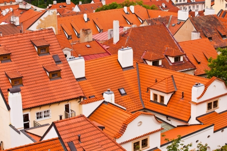 without windows: Tile roofs of the old city  Prague, Czech republic Stock Photo