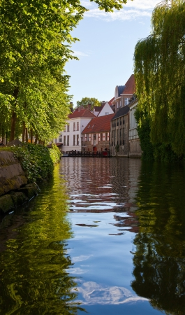 Classic view of channels of Bruges  Belgium  Medieval fairytale city  Summer urban landscape