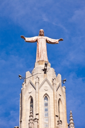 cor: Jesus Christus Statue  by Josep Miret  at Expiatory Church of the Sacred Heart of Jesus  Temple Expiatori del Sagrat Cor  on summit of Mount Tibidabo in Barcelona, Catalonia, Spain