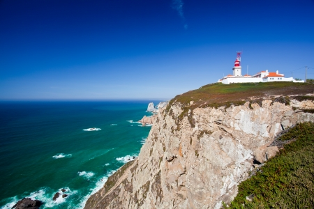 mainland: Cabo da Roca  Cape Roca  is a cape which forms the westernmost point of both mainland Portugal, mainland Europe and the Eurasian land mass  Sintra, Portugal  Stock Photo