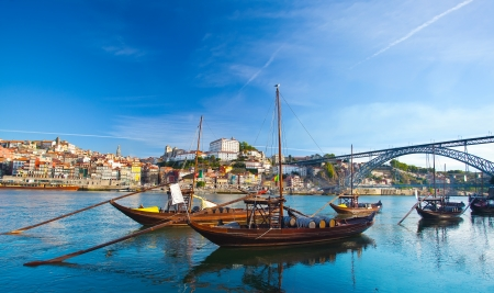 douro: old Porto and traditional boats with wine barrels, Portugal