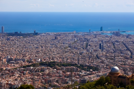 Spain. Barcelona, the capital of the province of Catalunya. View of the city from the top. photo