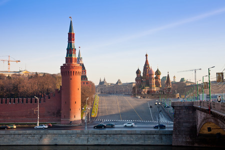 spassky: Intercession Cathedral and the Spassky Tower of Moscow Kremlin at Red Square in Moscow. Russia