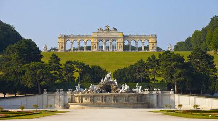 gloriette:   View on Gloriette structure and Neptune fountain in Schonbrunn Palace, Vienna, Austria