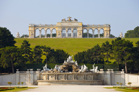 schonbrunn palace:   View on Gloriette structure and Neptune fountain in Schonbrunn Palace, Vienna, Austria