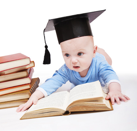 brainteaser: Baby in a hat of the bachelor and the book  Concept of early education