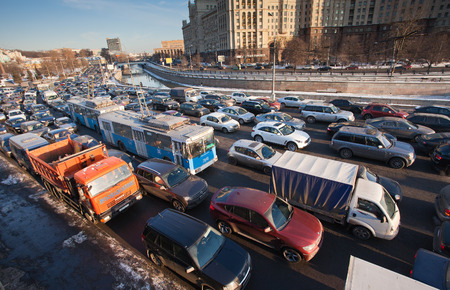 MOSCOW,RUSSIA - - FEBRUARY 8, 2012: Big transport stopper. Road jams arise because of a large number of transport which exceeds the maximum capacity of roads in the city