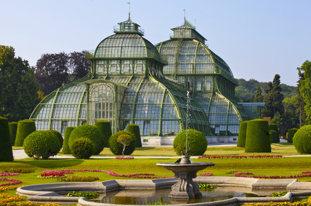 schonbrunn palace: front side of palm house  in Vienna, Austria
