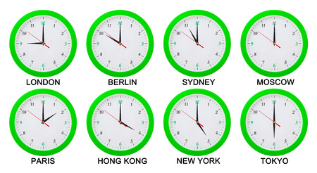 time zones: World time zones.  Clocks displaying time in big cities.Isolated on white background