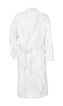 white bathrobe bathrobe. isolated on white background Archivio Fotografico