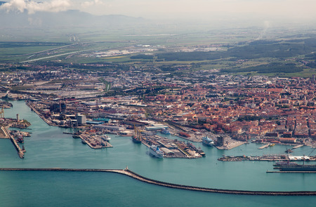 livorno: Italy. Livorno. View of the city and a seaport with birds-eye view