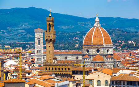 View of Cathedral of Santa Maria del Fiore and Palazzo Vecchio from Michelangelo's hill, Florence, Italy