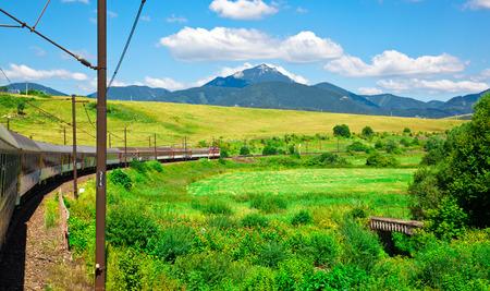 Bela paisagem de verão com trem em movimento Banco de Imagens