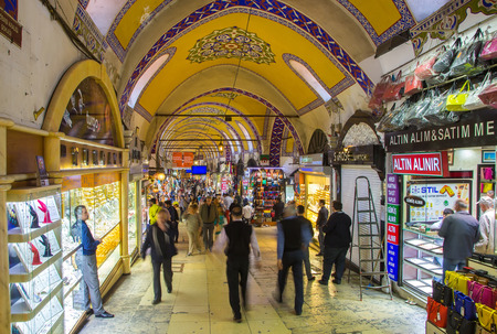 TURKEY, ISTANBUL - MAY 12,2015: Buyers of t tourists on the Grandee Bazare in Istanbul. Grand-Bazar - one of the largest covered markets in the world