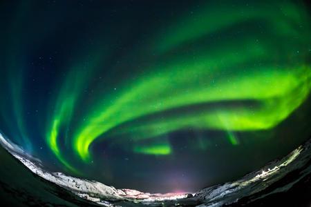 Aurora Green on Teriberka in the Murmansk region, Russia Foto de archivo