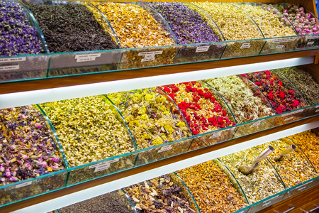 Counter with different types of fruit and herbal tea, the Grand Bazaar, Istanbul