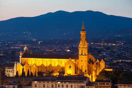 View of cathedrals of Florence in evening illumination from Michelangelos hill on a sunset