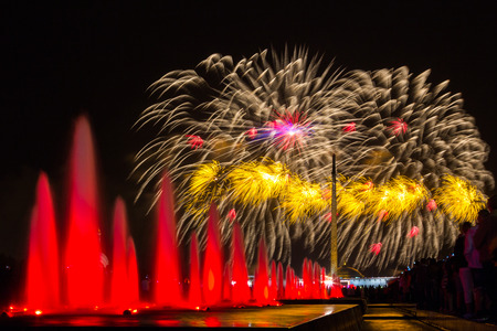 RUSSIA, MOSCOW - MAY 9, 2015: Fireworks in Victory park in honor of the 70 anniversary of the Victory of the USSR over fascist Germany in the Great Patriotic War.