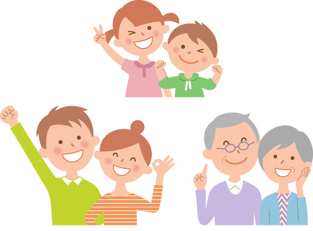 Six happy family front Illustration
