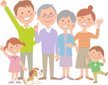 Six happy family 向量圖像