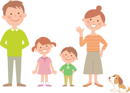 4 person family front side by side. Illustration