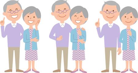 Senior couple face body