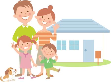 Four family home happy Ilustração