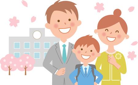 Elementary school graduation ceremony upper school and cherry blossoms  イラスト・ベクター素材