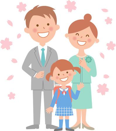 Elementary school entrance ceremony cherry body Illustration