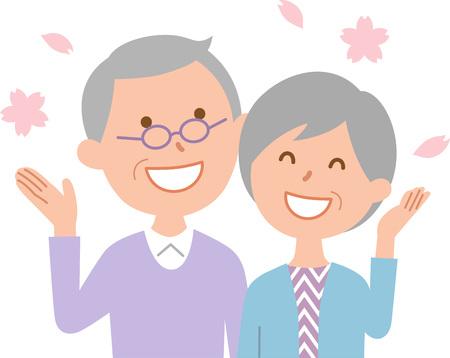 Senior couple enjoying seeing cherry blossom  イラスト・ベクター素材
