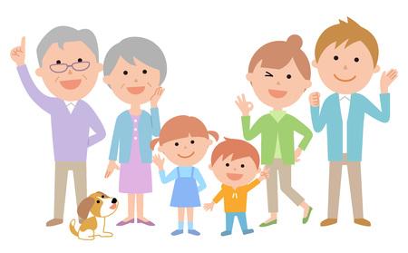 Six-member family energetic gathering