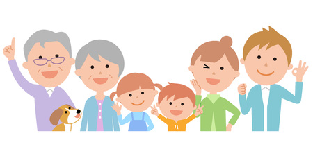 Six-member family, energetic, upper body