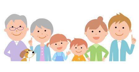 Six-member family front upper body