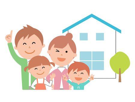 mijn huis en twee generaties familie bovenlichaam
