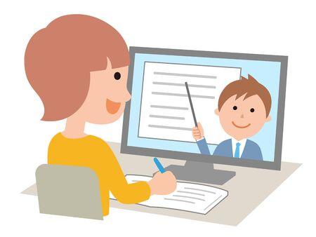 Girls taking online classes