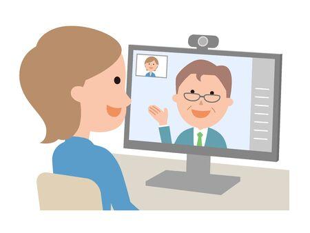 Female male interviewer sat web interviewed Illustration