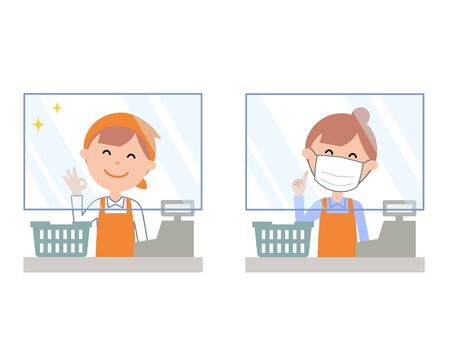 Acrylic plate infection prevention in the cash register female staff Illustration