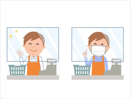 Acrylic plate infection prevention in the cash register male staff