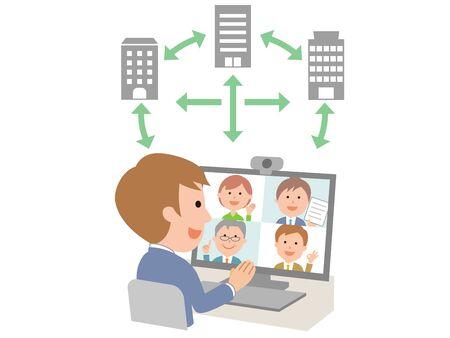 male employees holding online meetings between companies