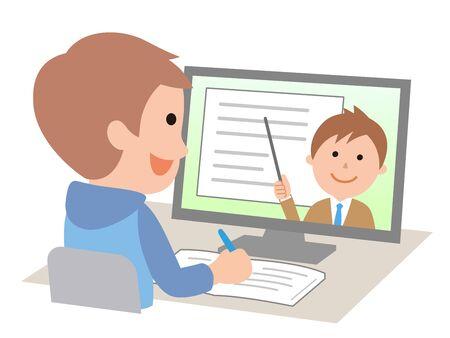Boys taking online classes