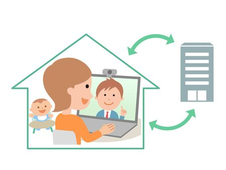 Telework Web Conferencing Remote Conference Illustration