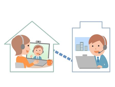 Telework with a headset Male and female employees Illustration