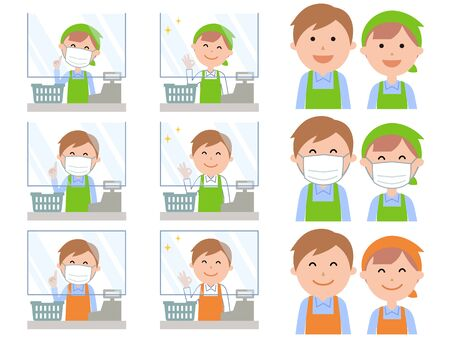 Acrylic plate infection prevention male and female staff at the cash register of the supermarket Illustration