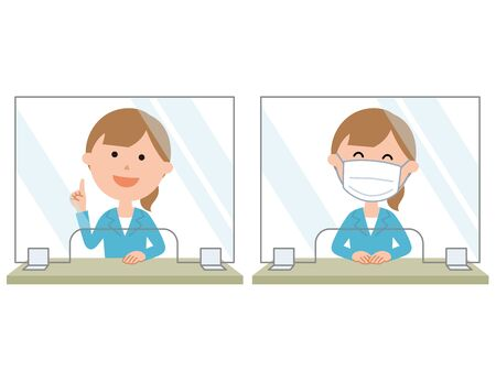 Reception Set up acrylic plate to prevent viral infection Female employees