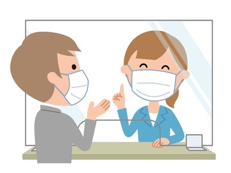 Reception Acrylic plate is installed to prevent virus infection. Illustration