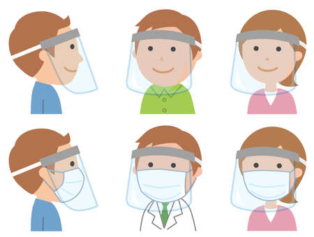 People with face shields Illustration