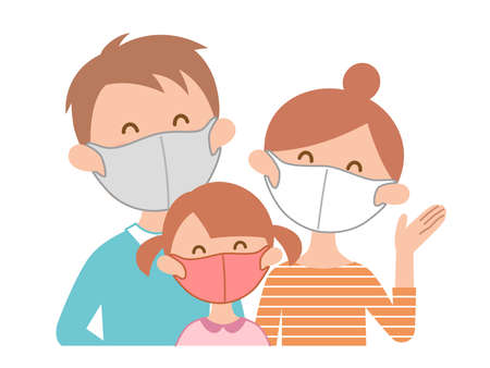 a family with a mask